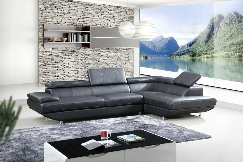 L Shape Leather Sofa with Chaise in Black Color Bisini Modern Corner Genuine Leather Sofa Furniture