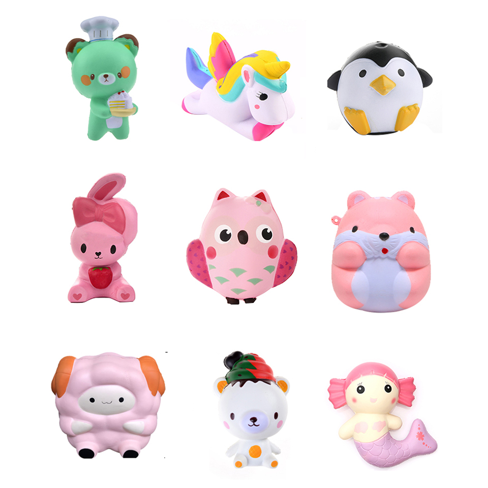 3D Kawaii Animals Soft Squeeze Squishy Cat Toys for Kids