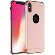 High quality rose gold phone case for iphone x case 3 in 1 removable electroplating hard pc plastic mobile phone cases cover