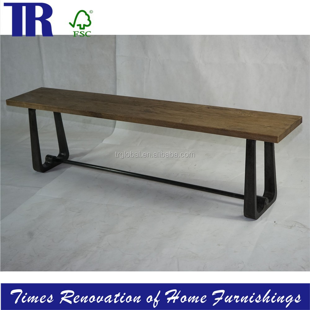 solid wood Bench,French Style Wooden Frame Upholstery Bench,metal frame Bench