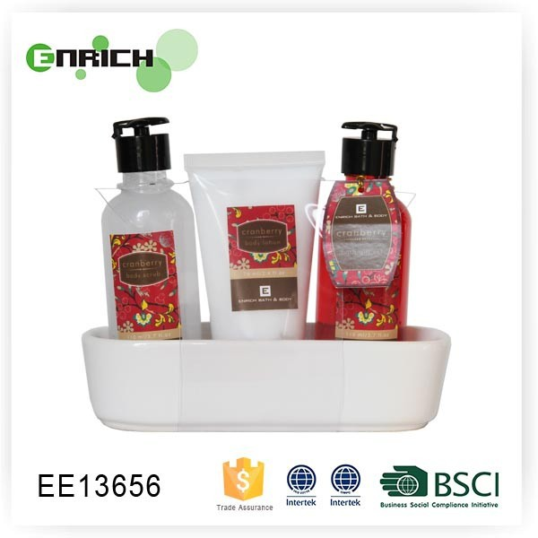 ceramic dish moisturizing body lotion Gift Set with face body cleansing scrub gel