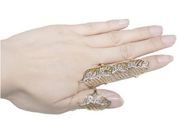 Celeb's Luxury Rhinestone Full Finger Armor Leaf Joint Knuckle Hollow Out Finger Ring
