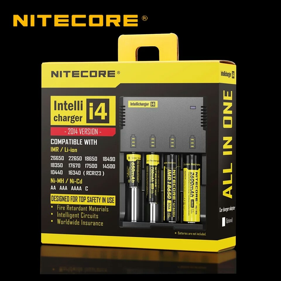 Portable battery charger 18650 li-ion battery nitecore i4 charger DC 12v EU/AU/UK/US adapter of nitecore intellicharger i4