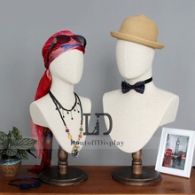 New oval-head female head mannequin linen fabric covered male bust tailors dummy