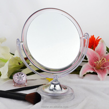 New free standing cheap transparent plastic desktop mirror as a promotional item,makeup table mirror