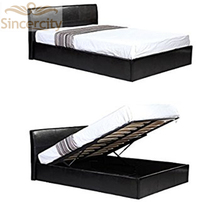 black pneumatic pu bed with storage bed base