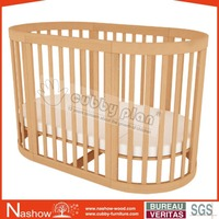 Cubby Plan LMBC-080-1 High Quality Functional 6-1 Popular Baby Furniture Baby Wooden Oval Cot