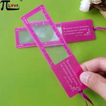 Eco-friendly advertising gift 140*38mm plastic magnifying bookmark with ruler
