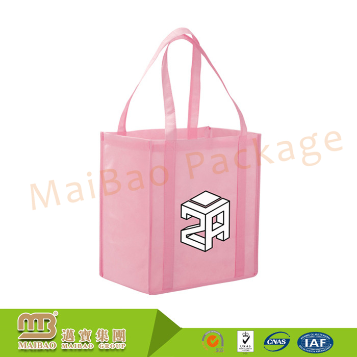 Custom Pink Design Print Reusable Eco Friendly Mini Non Woven Tote Shopping Bags Wholesale