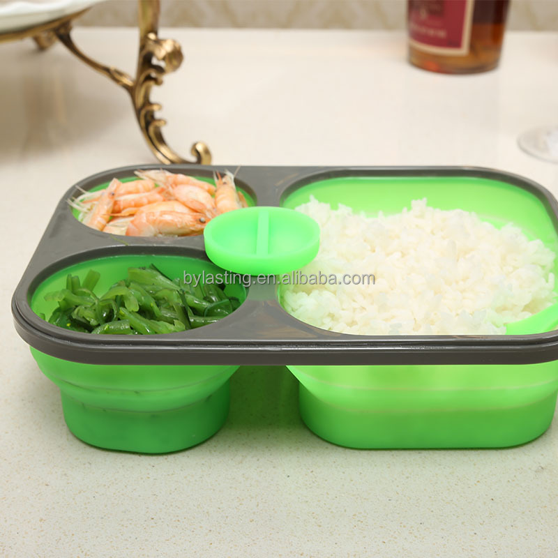 3 compartment take easy bento lunch box container silicone. Black Bedroom Furniture Sets. Home Design Ideas