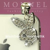 IP138 Wholesale Cute Crystal Bunny Rabbit 3.5mm Anti Dust Phone Plug Charm for iPhone Android