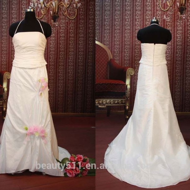 IN STOCK Halter wedding dress sleeveless flower Floor-length bridal dresses SW114