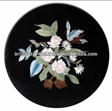Marble Stone Inlaid Round Shape Coffee Table Top, Plates Tabletop Exporter Marble Inlay Table Top Manufacturers Inlay Table