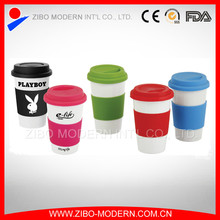 ceramic coffee mug without handle with silicone lid and sleeve