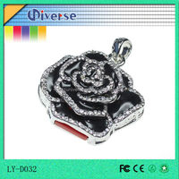 full capacity rose shape diamond necklace crystal usb