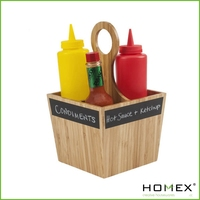 Household bamboo condiment carrier with Homex