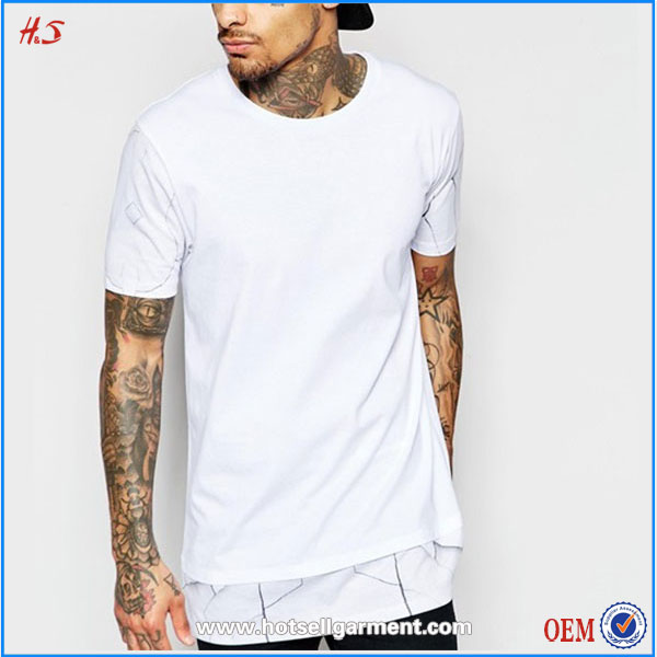 Manufacturer China Man Clothes Modern Selling Products Longline White Fashion T-shirt With Hem Print