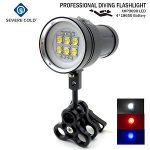 Professional LED Diving Flashlight White Red UV Light Underwater Photograph Light Video Diving Flash Lamp Scuba Diving Light
