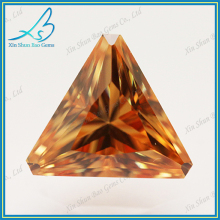 Dark champange zircon diamond faceted triangle shape gems