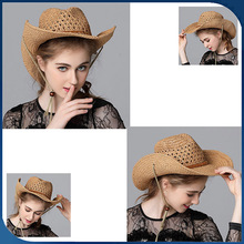 Hot sale summer sunshade straw hat with string mexican cheap straw cowboy hat