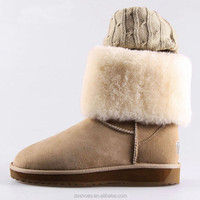 Women boots, Double face Sheepskin crotch high boots