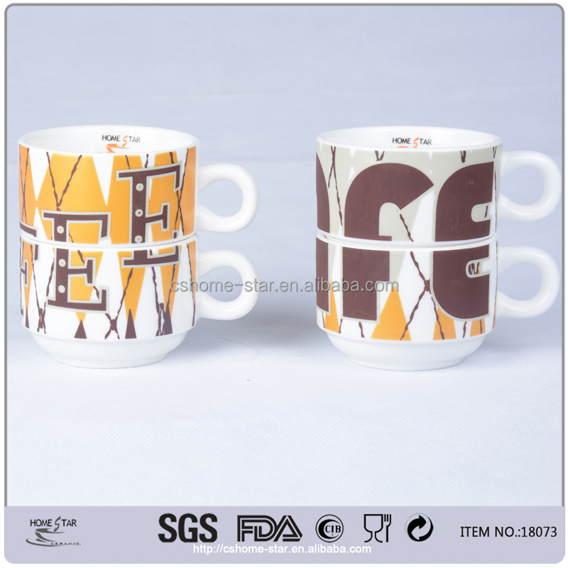 custom logo ceramic stackable coffee mug