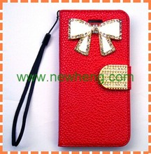 luxury Litchi grain diamond bowknot pattern leather case for iphone 6 6s