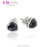 Hot Selling Fashion Design Sterling Silver Black CZ Heart Earrings For Gay Men