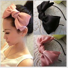 Fashion wild satin solid color headband double layer super immortal big bow knot hair band exaggerated tribute Korean version
