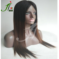 Top Quality 7A 100% Brazilian Virgin Human Hair Front Wig Silky Straight T Color Two Tone Ombre Full Lace Wigs with Baby Hair