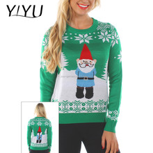 2017 winter novelty xmas sweater women's long sleeve suspicious gnome knitted pullover