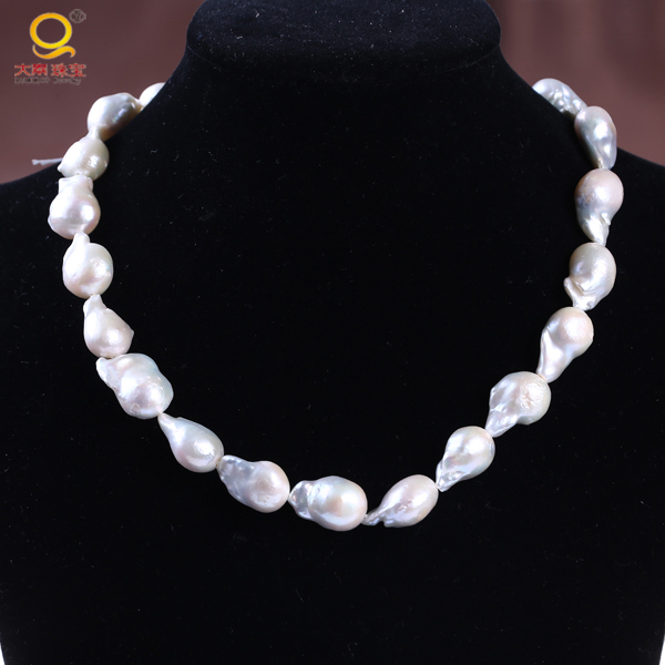 13-14MM irregular freshwater pearl,nucleated freshwater pearl string