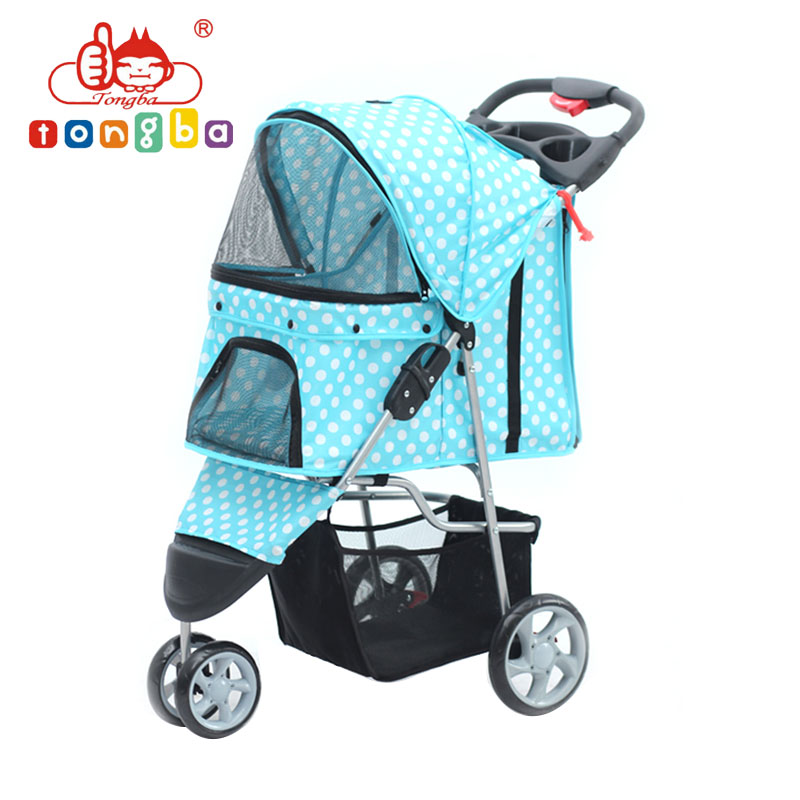 Pet Stroller Cat Dog Cage 3 Wheels Stroller Travel Folding Dog Trolley