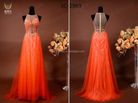 3C3054 Latest Orange Red See Through Lace Fabric Sexy Sleeveless Prom Dresses