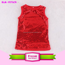 Wholesale 2015 new stylish boutique sequin baby girls solid red tank tops