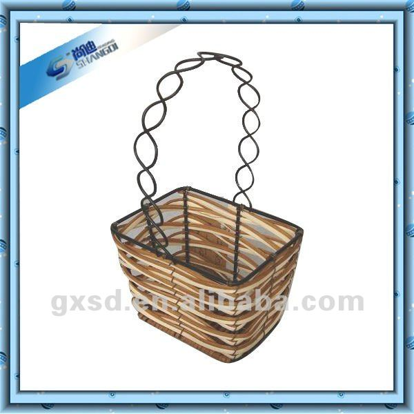 S&D Eco-friendly 100% Handmade Square Gift Rattan Hanging Basket