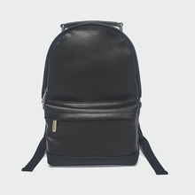 popular all leather backpack top grain leather black backpack