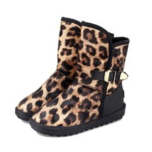 cheelon shoe new outdoor fur snow boots pu leather women winter leopard boots