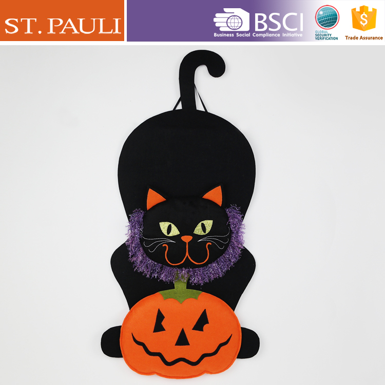 36 inch hanging holding pumpkin halloween felt black cat decoration