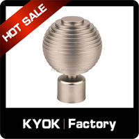 KYOK Free rust drapery window hardware,double curtain rod finial,round shape curtain pole accessories