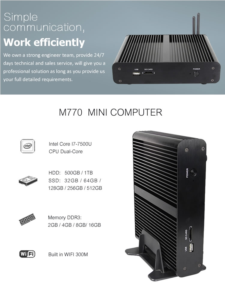 Hot selling China oem intel core i7 best desktop pc with DP mini computer