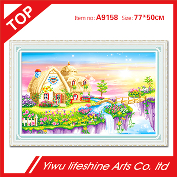 house and flower picture for living room Diy Diamond painting landscape diamond cross stitch crystal round diamond sets