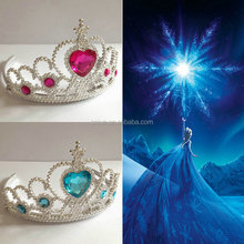Cheap Fashion plastic color stone pageant crowns for kids
