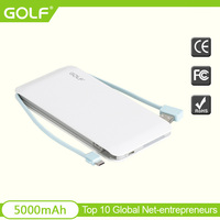 2015 newest design high quality slim powerbanks 5000mah with build-in cable custom OEM portable 5000mah powerbank for smartphone