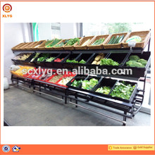 Fruits and Vegetable Racks Displaying Fresh Produce for Supermarket