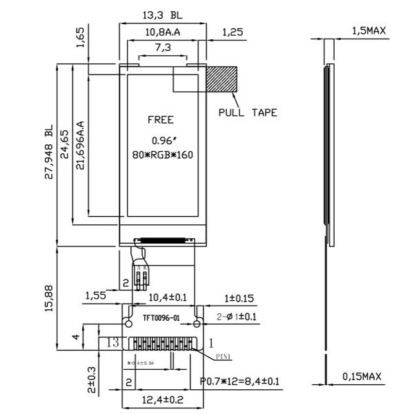 80x160 tft lcd 디스플레이 저렴한 0.96