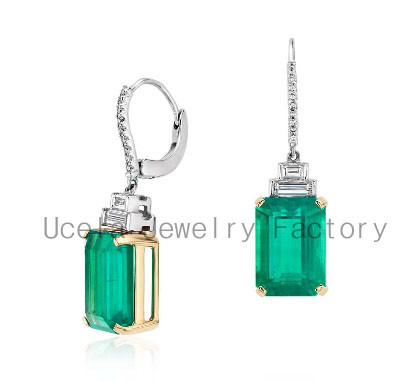Emerald Diamond Drop Changeable Stone cz chandelier costume earring