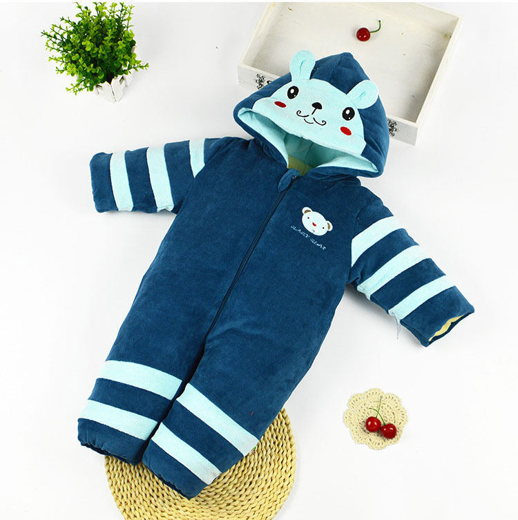 Infant Boys Snowsuit Newborn Baby Winter Clothes Cotton 0-24 Months Blue Cartoon Baby Coat Warm Winter Baby Clothing Top Quality
