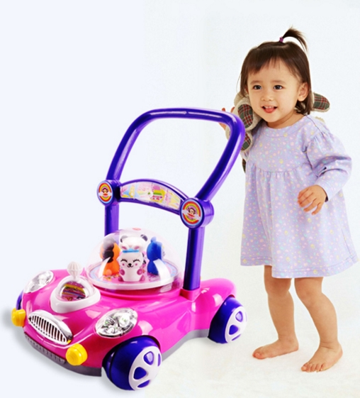 2016 New Model Unique Musical Plastic Rubber wheel Baby Walker Toy, Pusher Baby Walker Car Shape
