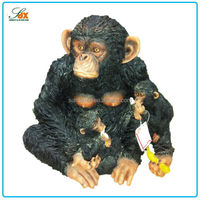 New style resin chimpanzee mather and baby figurine statue